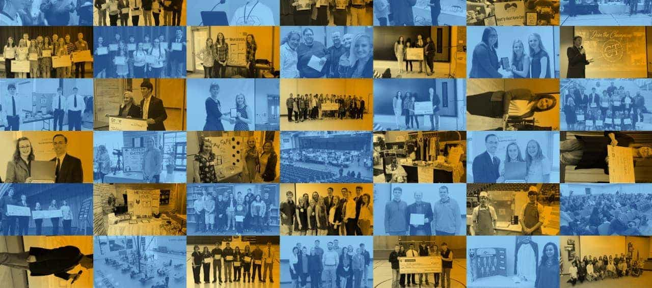 Collage of student teams recieving competition awards