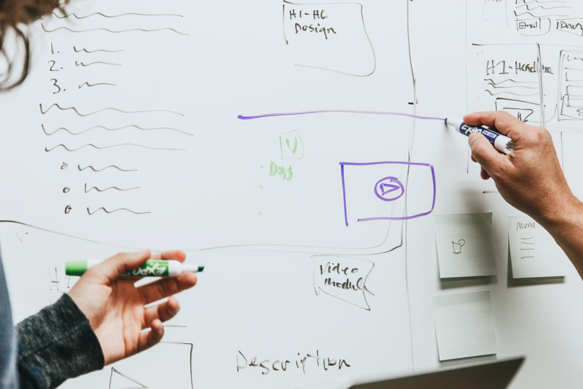 Two people prototyping designs on a whiteboard